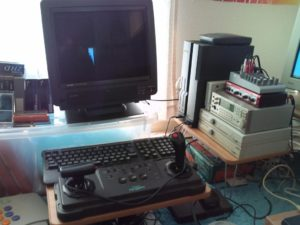Superdeadite's X68000 setup with Tri-sync monitor, analogue stick and external MIDI controllers